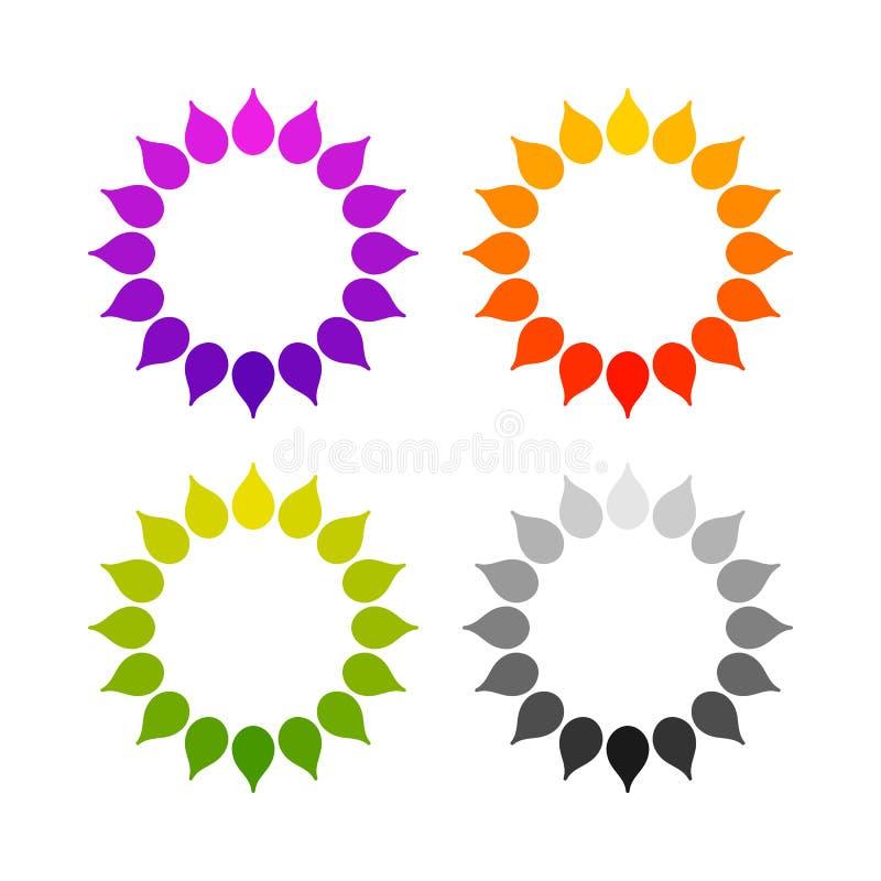 Uppsättning av den stiliserade sollogoen Rund symbol av solen, blomma Isolerad guling, gräsplan, röd, orange, violett, purpurfärg stock illustrationer