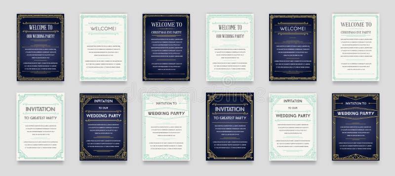 Uppsättning av den stora kvalitets- stilinbjudan i Art Deco eller Nouveau Epo royaltyfri illustrationer