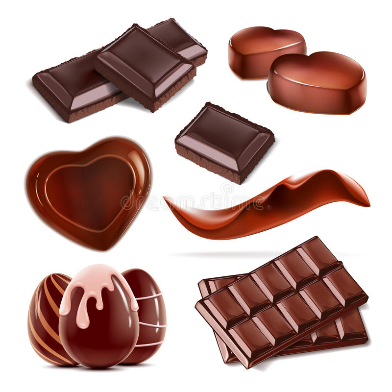 Uppsättning av den stycke högg av chokladgodisen royaltyfri illustrationer