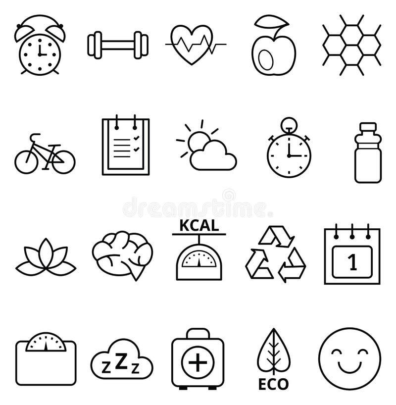 Uppsättning av den sunda ekologiska livsstilen för symboler royaltyfri illustrationer