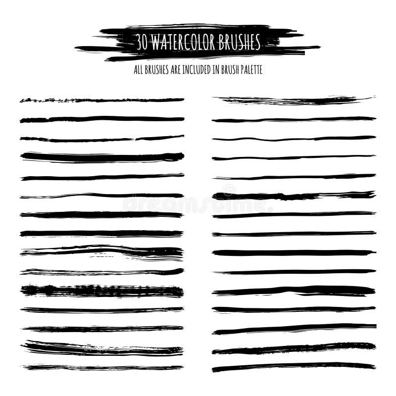 Uppsättning av den svarta vattenfärgen, drog borsteslaglängder för färgpulver hand, gränser stock illustrationer
