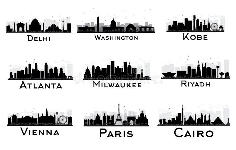 Uppsättning av den svartvita konturn för stadshorisont royaltyfri illustrationer
