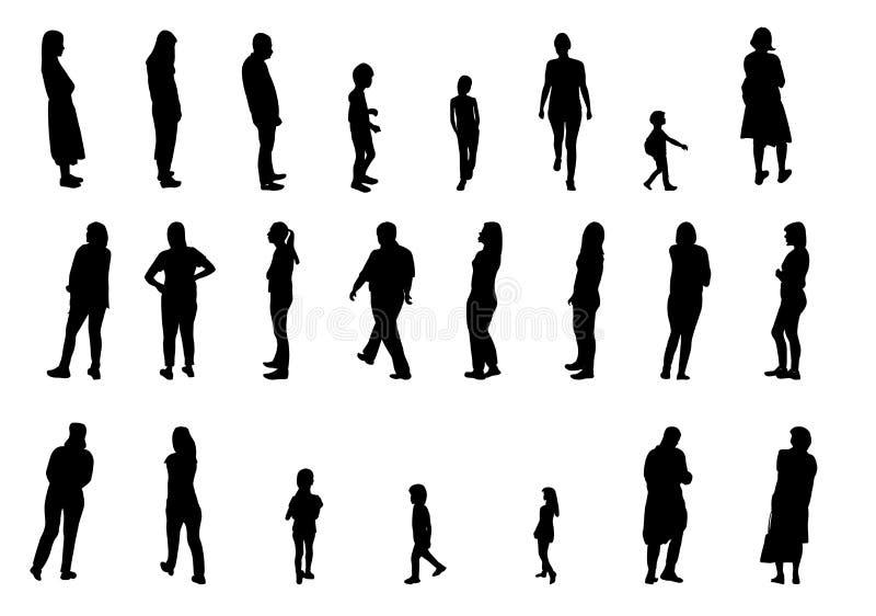 Uppsättning av den svartvita konturn som går folk och barn också vektor för coreldrawillustration royaltyfri illustrationer