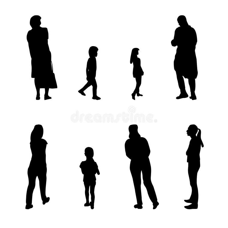 Uppsättning av den svartvita konturn som går folk och barn också vektor för coreldrawillustration vektor illustrationer