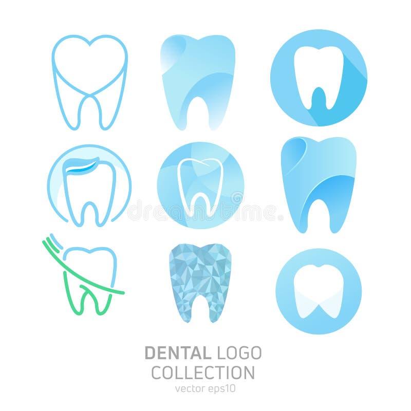 Uppsättning av den tand- kliniklogoen Läker tandsymbolen Tandläkarekontor vektor illustrationer