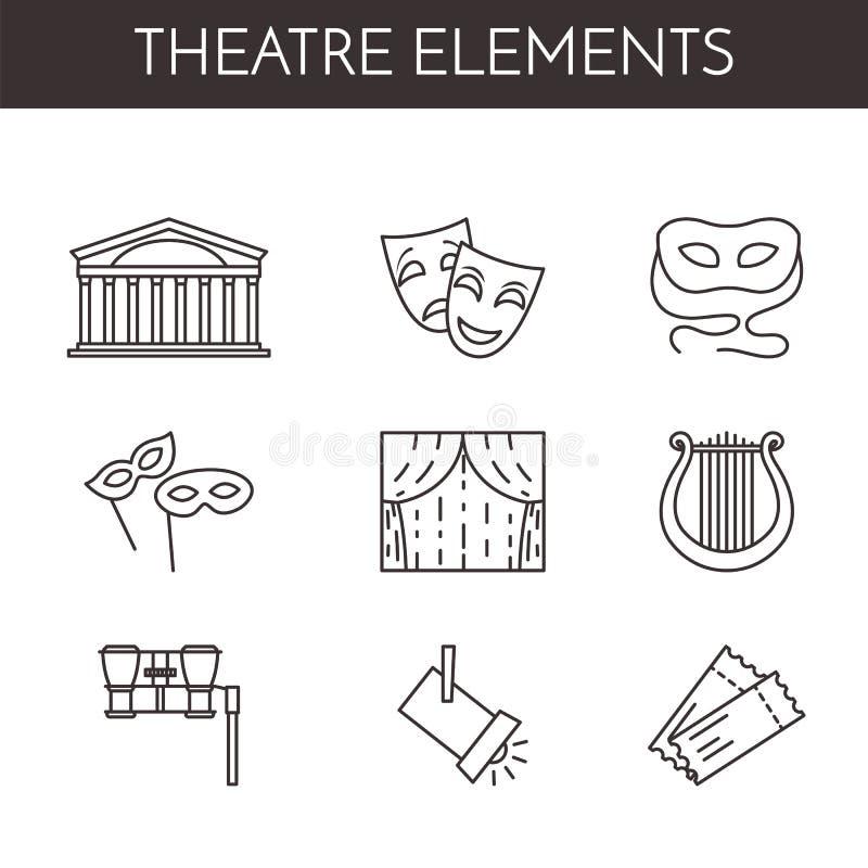 Uppsättning av den teater släkta linjen symboler royaltyfri illustrationer