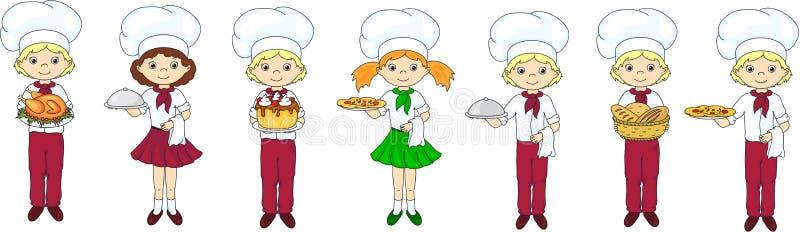 Uppsättning av den tecknad filmuppassaren, kocken och kocken vektor illustrationer