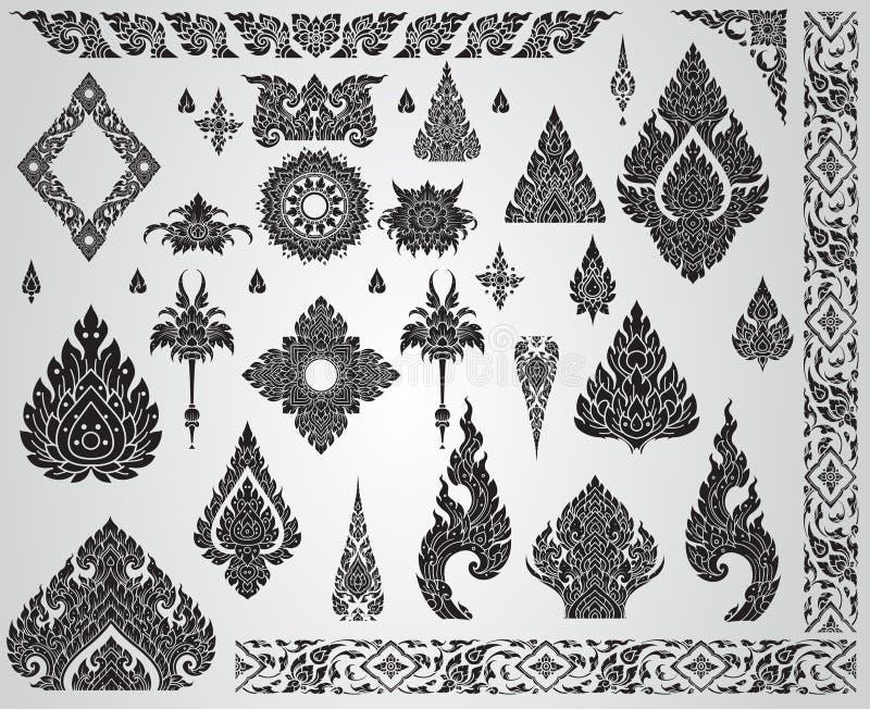 Uppsättning av den thailändska konstbeståndsdelen, dekorativa motiv Etnisk konst stock illustrationer