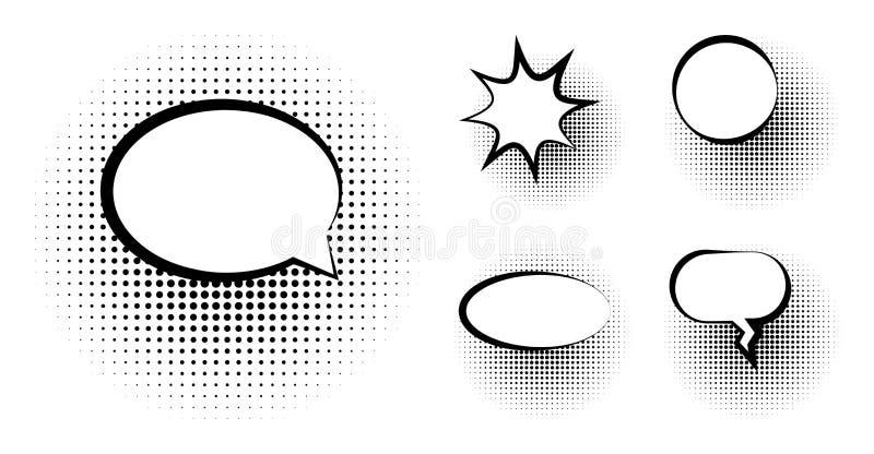 Uppsättning av den tomma mallen i stil för popkonst För textanförande för vektor komisk halvton Dot Background för bubbla Tomt mo stock illustrationer