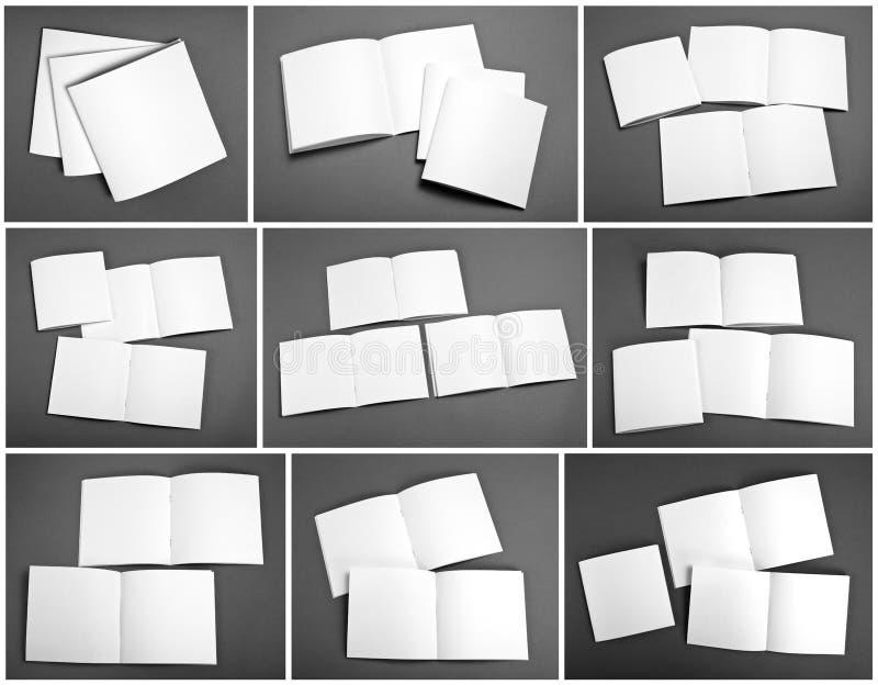Uppsättning av den tomma tidskriften, katalog, broschyr, tidskrifter, bok royaltyfria foton