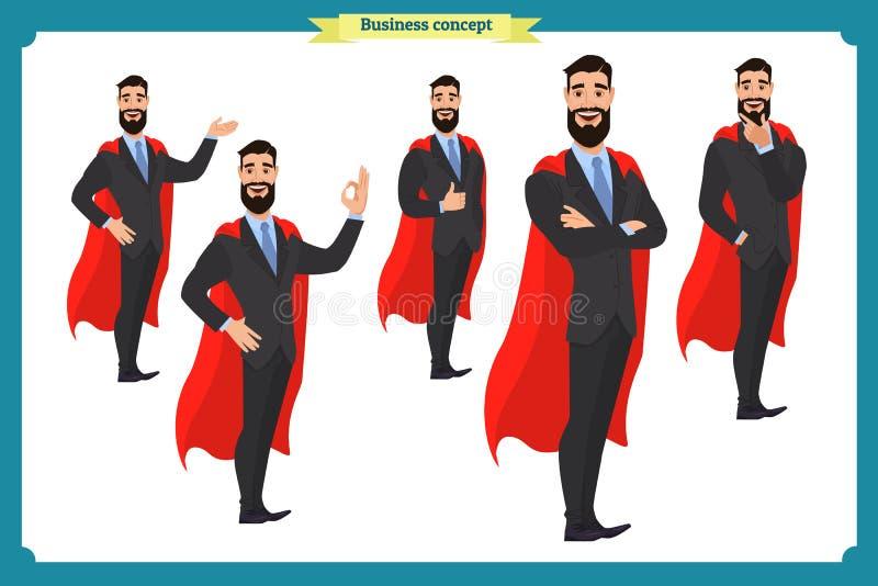 Uppsättning av den toppna affärsmanteckenmannen i dräkt som står stock illustrationer