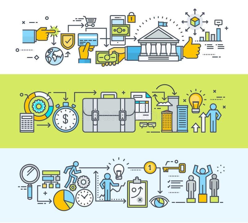 Uppsättning av den tunna linjen baner för lägenhetdesignbegrepp för online-betalning- och affärsprocess stock illustrationer