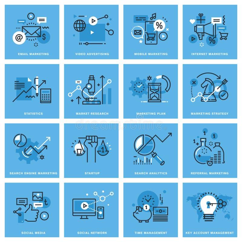 Uppsättning av den tunna linjen begreppssymboler av marknadsföringen stock illustrationer