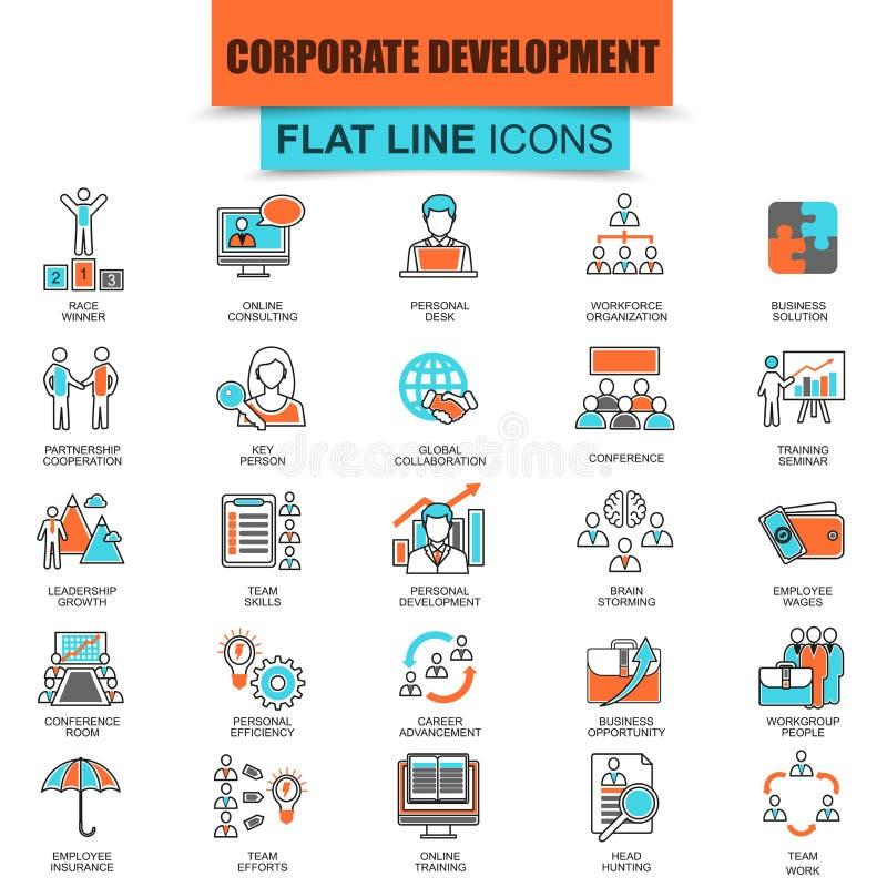 Uppsättning av den tunna linjen företags utveckling för symboler royaltyfri illustrationer