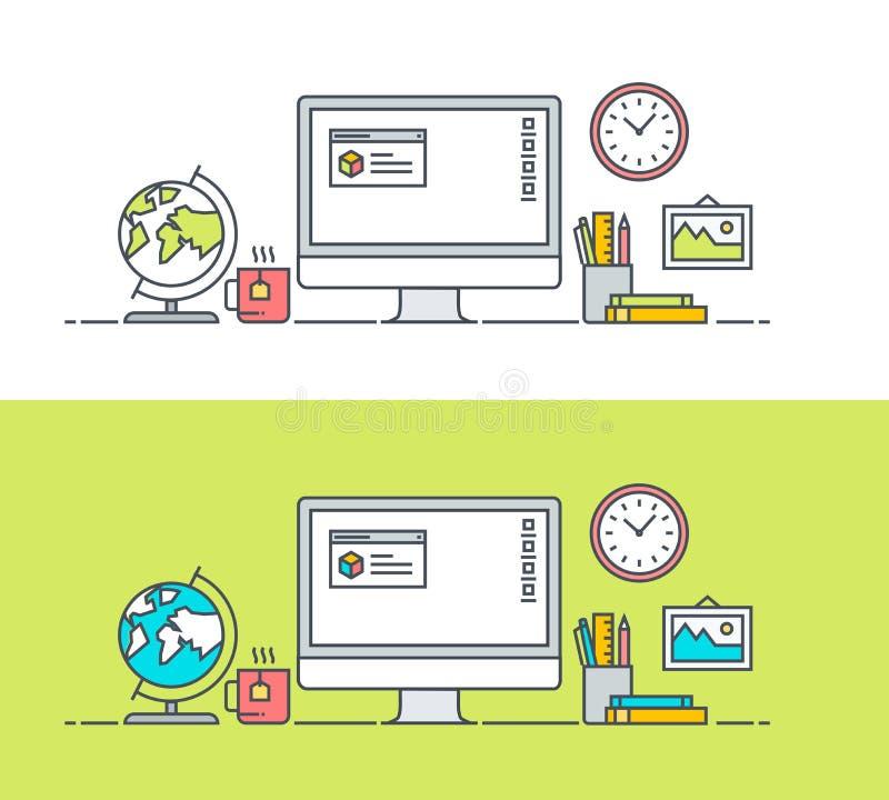 Uppsättning av den tunna linjen lägenhetdesignbegrepp av app-bärareworkspace royaltyfri illustrationer