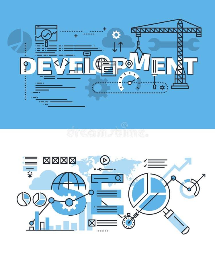 Uppsättning av den tunna linjen ordbaner av utveckling och SEO stock illustrationer
