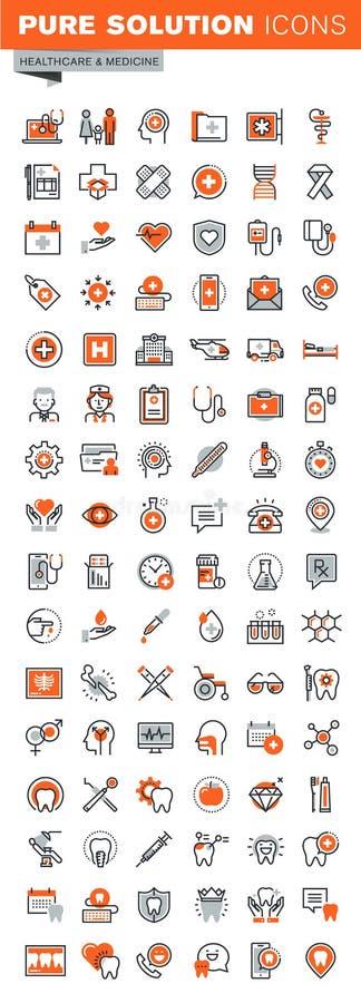 Uppsättning av den tunna linjen rengöringsduksymboler av klinik- och sjukhuslättheter vektor illustrationer