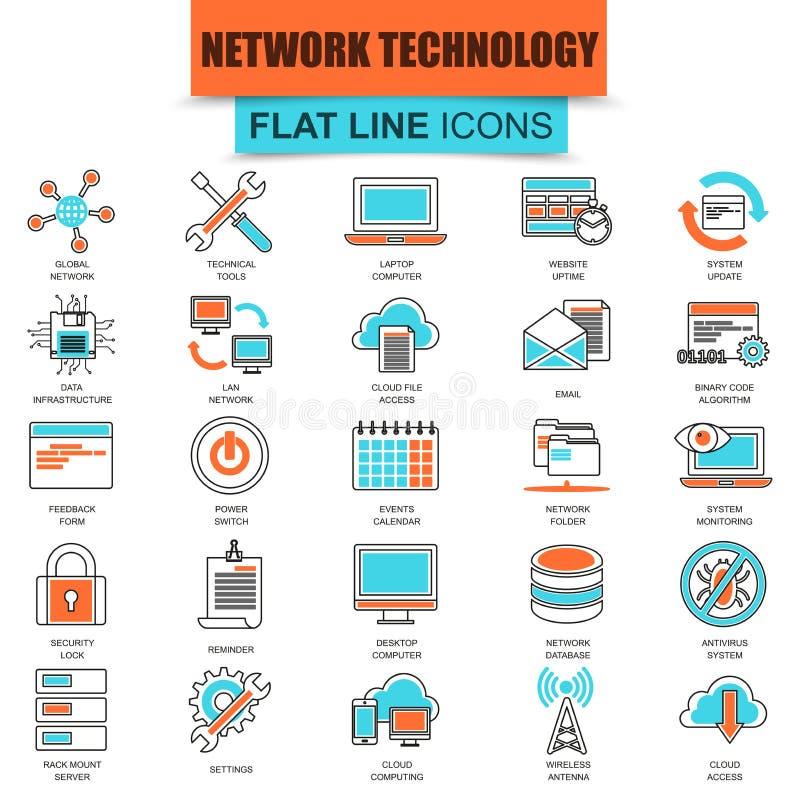 Uppsättning av den tunna linjen service för teknologi för symbolsmolndata stock illustrationer