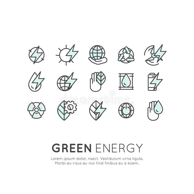 Uppsättning av den tunna linjen symboler av miljön, förnybara energikällor, hållbar teknologi, återvinning, ekologilösningar arkivbild