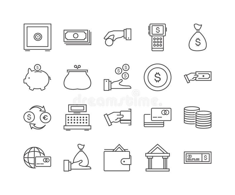 Uppsättning av den tunna linjen symboler för 20 affär royaltyfri illustrationer