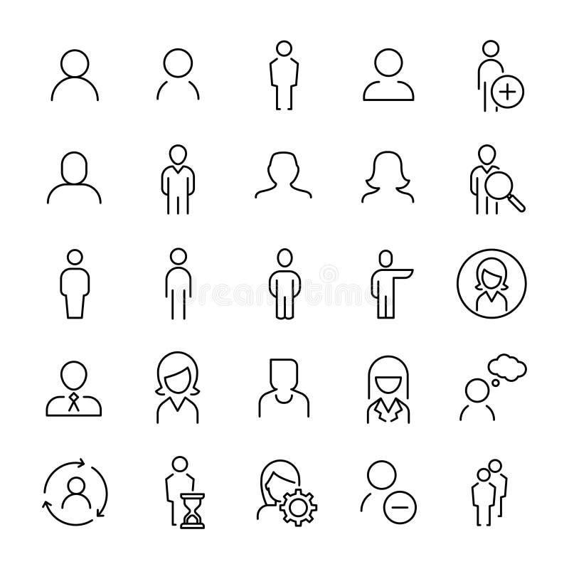 Uppsättning av den tunna linjen symboler för 25 användare stock illustrationer