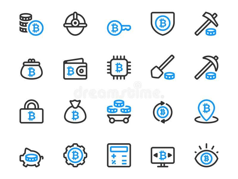 Uppsättning av den tunna linjen symboler för bitcoin som bryter affär royaltyfri illustrationer