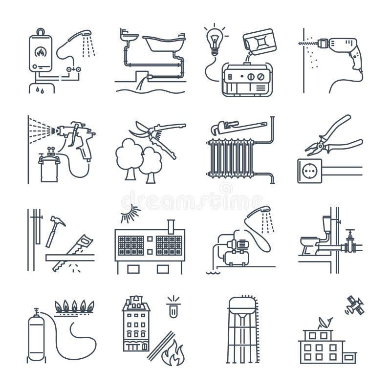 Uppsättning av den tunna linjen symbolsallmän nyttighet, elektricitet, gas, vatten royaltyfri illustrationer
