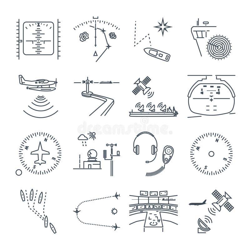 Uppsättning av den tunna linjen symbolshavs- och luftnavigering, utrustning stock illustrationer
