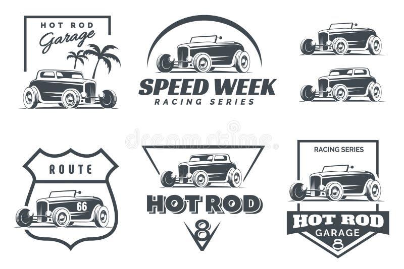 Uppsättning av den varma Stång logoen, emblem och symboler stock illustrationer