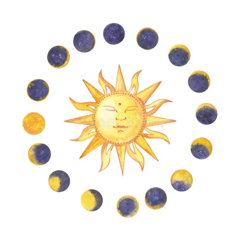 Uppsättning av den vattenfärgmånefaser och solen Moderiktiga hipsterlogotyper bakgrund isolerad white vektor illustrationer