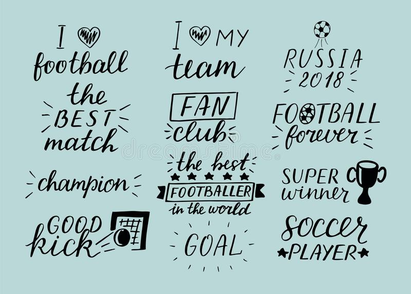 Uppsättning av denbokstäver för 12 fotboll inskriften om sport vektor illustrationer