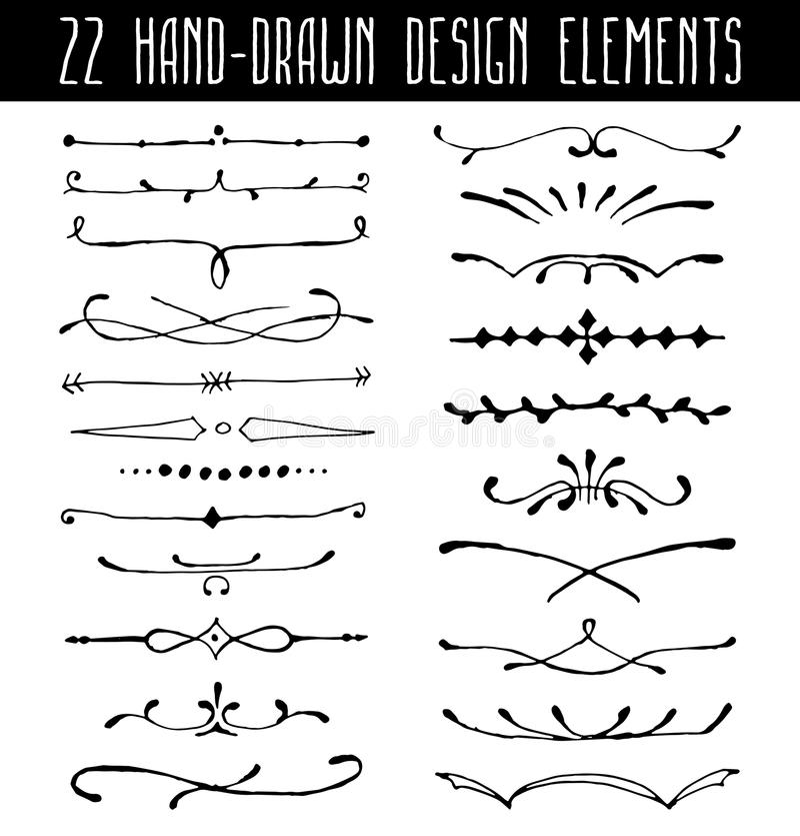 Uppsättning av dendrog linjen gränsavdelare och design stock illustrationer