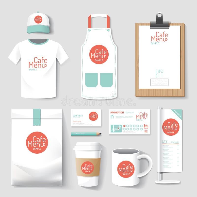 Uppsättning av des för företags identitet för restaurang och för coffee shop enhetlig royaltyfri illustrationer