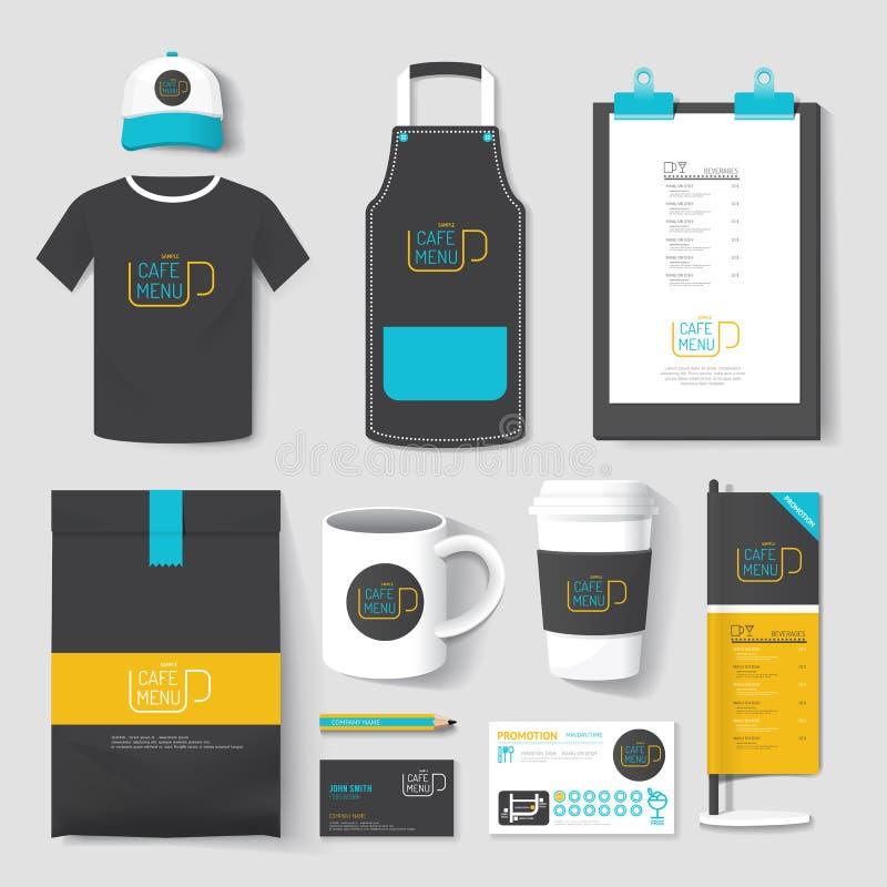 Uppsättning av des för företags identitet för restaurang och för coffee shop enhetlig stock illustrationer