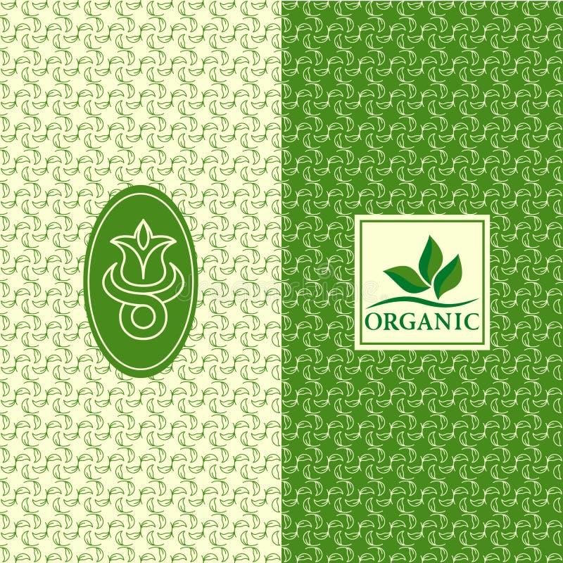 Uppsättning av designbeståndsdelar, behagfull logomall Sömlös modellbakgrund för organiskt som är sund, förpacka för mat Gräsplan royaltyfri illustrationer