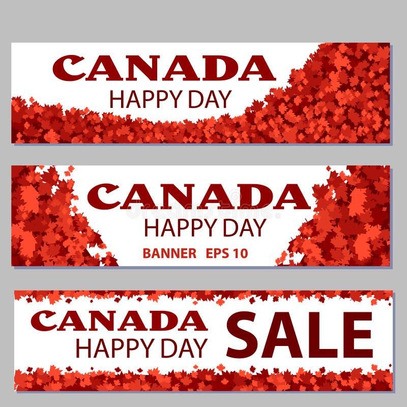 Uppsättning av designbeståndsdelar för den Kanada dagen 1st Juli Modern stilfull illustration för vektor royaltyfri illustrationer