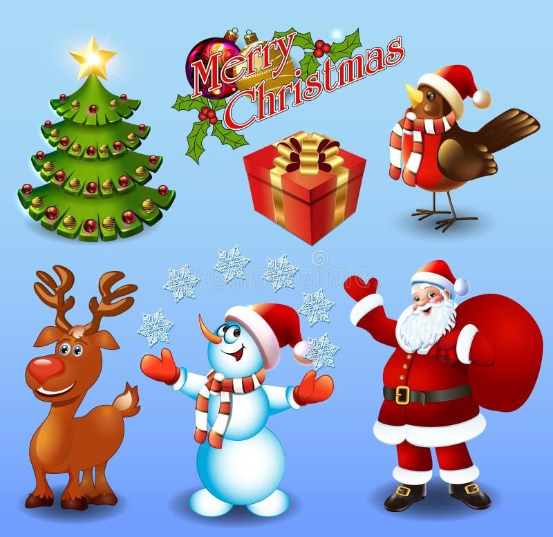 Uppsättning av designbeståndsdelar julgran, gåva, domherrefågel royaltyfri illustrationer