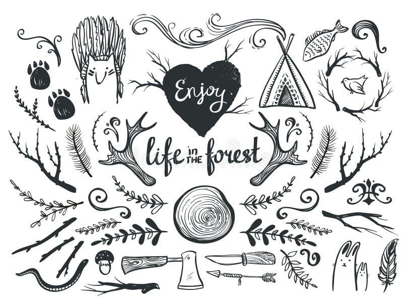 Uppsättning av designbeståndsdelar och gemkonst som är themed runt om djur, campa och liv i skogen stock illustrationer