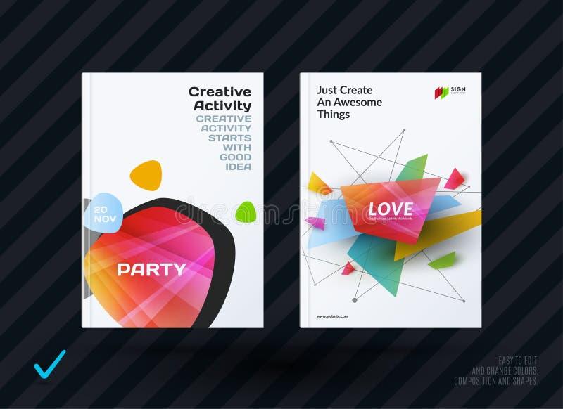 Uppsättning av designbroschyren, abstrakt årsrapport, horisontalräkningsorientering, reklamblad i A4 med färgglat rundat för vekt royaltyfri illustrationer