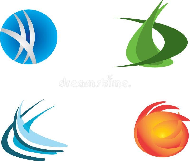 Uppsättning av designen för fyra logoer stock illustrationer