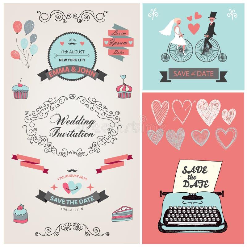 Uppsättning av designen för inbjudan för vektortappningbröllop stock illustrationer