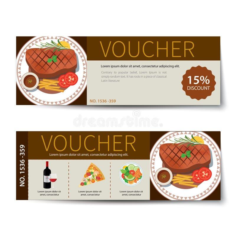 Uppsättning av designen för mall för matkupongrabatt royaltyfri illustrationer