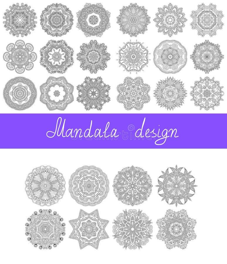 Uppsättning av designen för 26 mandala, cirkelprydnad stock illustrationer