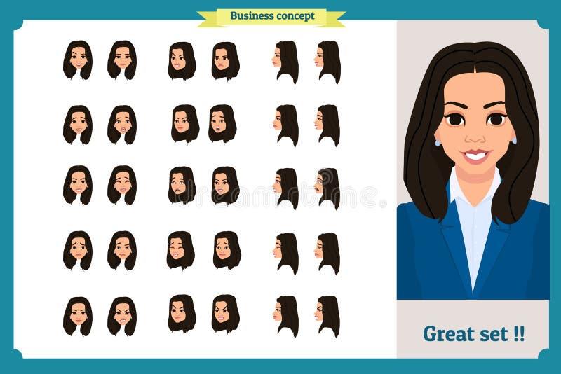 Uppsättning av designen för sinnesrörelser för kvinna` s Roligt vända mot Flickaaffär Framdelen sidan, profilsikt animerade tecke vektor illustrationer