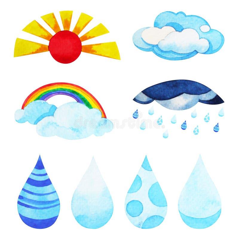 Uppsättning av designen för tecken för logo för vädersymbolssymbol, vattenfärgmålning stock illustrationer