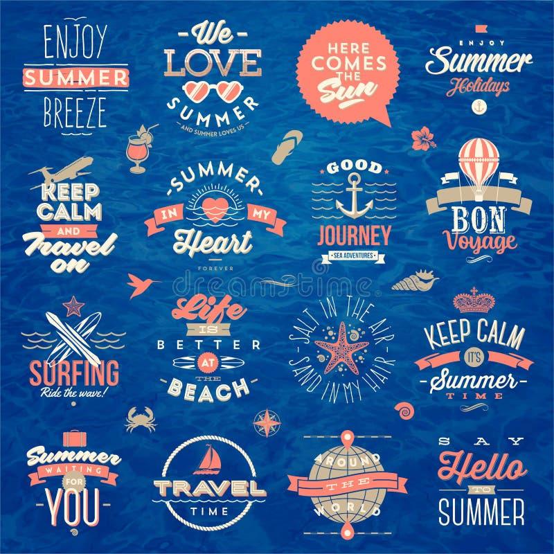 Uppsättning av designen för typ för sommarsemester royaltyfri illustrationer