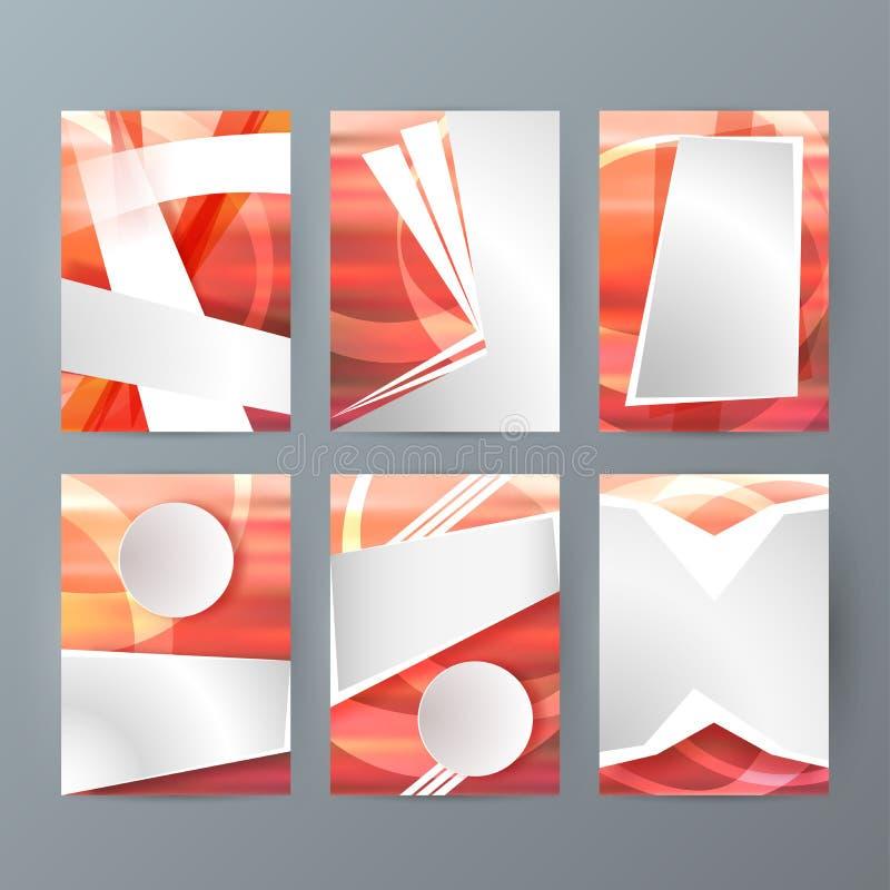 Uppsättning av designmallar för broschyr A4 med geometriskt abstrakt funktionsläge stock illustrationer