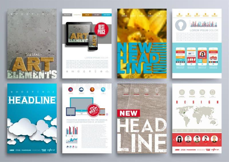 Uppsättning av designmallar för broschyrer, reklamblad, mobila Technologi stock illustrationer