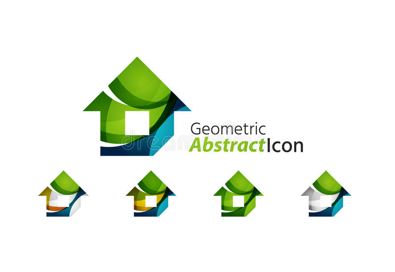 Uppsättning av det abstrakta geometriska företagslogohemmet, hus stock illustrationer