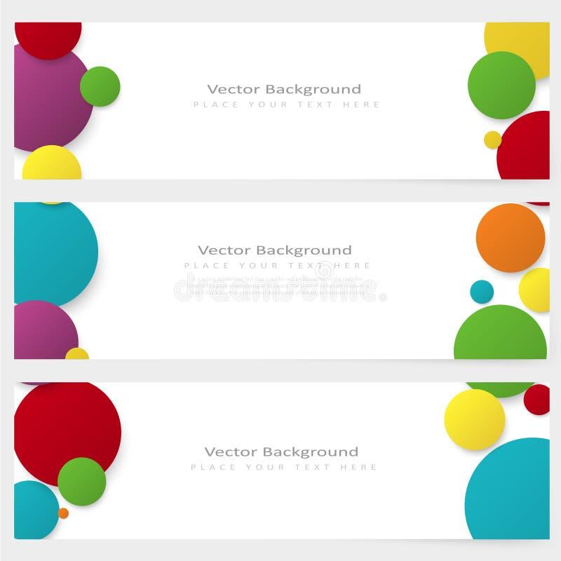 Uppsättning av det abstrakta mallbanret med färgcirklar vektor illustrationer